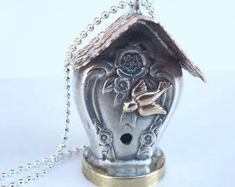 Knife handle bird house pendant
