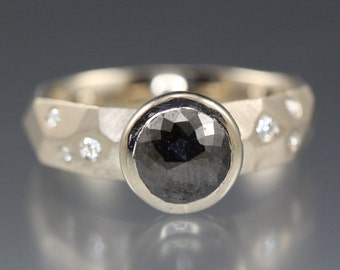 1.69 carat Black Rose Cut Diamond Ring