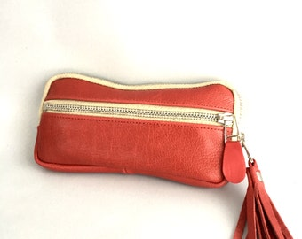 Leather wallet in red/ cream