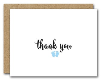 Baby Thank You Card, Printable Baby Card, INSTANT DOWNLOAD, Baby Feet Card, New Baby Card, New Mom Card, Baby Shower Thank You, Baby Boy