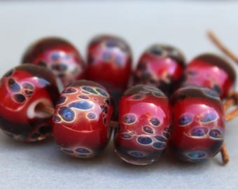Red and Dark Spots Boro Beads - Lampwork Beads