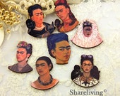Wooden Frida Kahlo Charms, Laser Cut Wood Mexico Woman Pendants, Perfect for Brooch / Necklace
