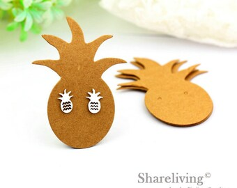 Kraft Paper Pineapple shape Earring Display Tags, Earring Display Cards, Earring Holder,  Packaging, Blank Design Tag - EDC001A