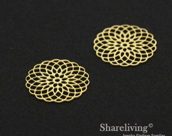 Exclusive - 8pcs Raw Brass Geometry Flower Charm / Pendant,  Fit For Necklace, Earring, Brooch  - TG322