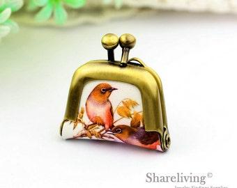 1pcs Vintage Birds Purse Charm, Handmade  Antique Bronze / Silver Bird in Tree Purse Pendant / Necklace - PL006T