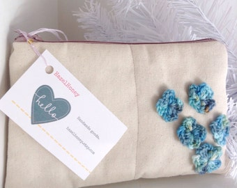 Wife gift Canvas bag, anniversary gifts for women, makeup bag, blue flowers gift for her, ivory