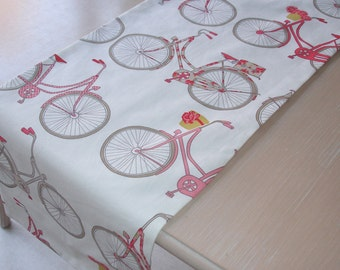 """Table Runner 4ft Pink and Red Bicycles 48"""" Bikes 120cm Urban Chic Bike Bicycle"""