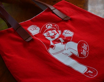 Super Mario Red Upcycle t-shirt  Tote Handmade Bag