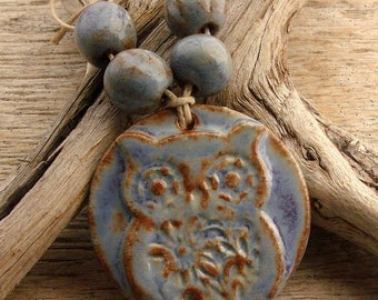 OWL - Blue with hints  of Chocolate Brown and Purple Owl Pendant with Coordinating Beads - Handmade Ceramic Pendant