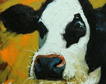 Cow painting 1214 12x12 inch original animal portrait oil painting by Roz