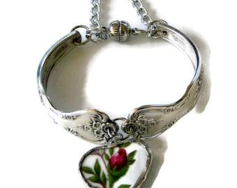 Broken China Bracelet  - Magnolia 1951 Spoon Bracelet - Flatware Bracelet - Vintage Bracelet - Vintage Broken China Bracelet