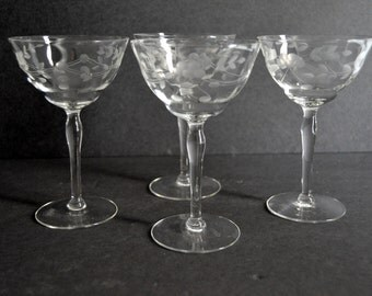 Vintage Etched Champagne Coupe Glasses - Set of 4  {Floral Cocktail Wine Coupes Set Wedding Gift Toasting Midcentury Drinkware Barware}