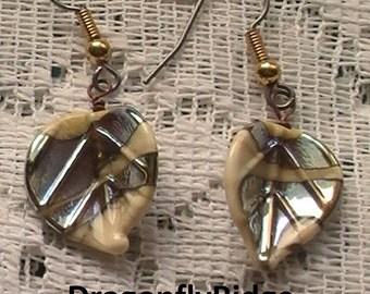 Leaf Earrings, Silver Earrings, Lampwork Glass Earrings, Gift for Sister, Hypo Allergenic Earrings, Surgical Steel Earrings