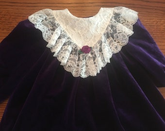 Purple Velvet Dress Girls 5/6