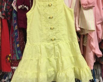 80s Yellow Eyelet Dress 3/4T
