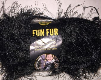 1 Skein of Lions Brand Black Fun Fur Yarn