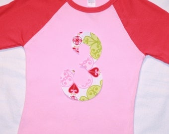 Girls 3rd Birthday Number 3 Light and Dark Pink Raglan Shirt - number 3 pink and lime green