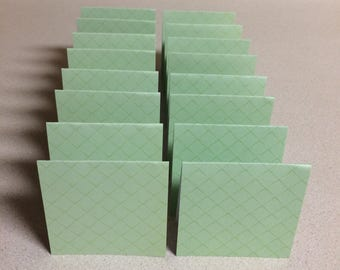 Mini Cards 16 Green squares - blank for thank you notes 3 x 3