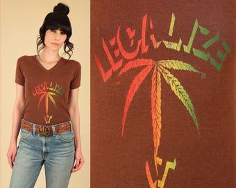 RARE Vintage 70s Marijuana Rainbow Legalize It T Shirt // Stoner Maryjane 420 Pot Leaf Greenbud Mary Jane HiPPiE Tee T-Shirt S M