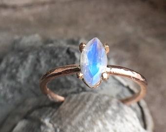 Rainbow Moonstone Marquise Solitare Rosegold Ring Alternative Bridal