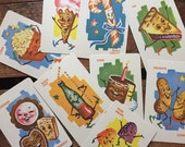 Vintage Dandy Candy Cards - Set of 9 - Sweets, Candy, Treats, Desserts, Anthropomorphic Food Cards, Retro Candy Cards, Dandy Candy Cards