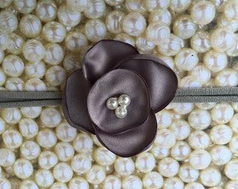 Preemie Headband, Gray Baby Headband, Small Bows, Baby Bows, Newborn headbands, Nylon Headbands,Baby hair bows, Flower Headband Grey Bow