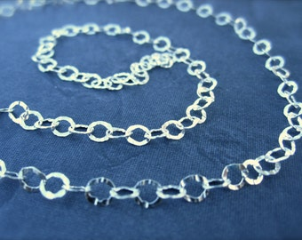 Bright Polished Textured Circle Sterling Silver Chain - 4mm - 1 foot