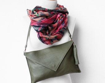 Green Leather Clutch, Evening Leather Clutch, Leather Clutch Bag, Envelope Clutch, Green Bag, Green leather bag, Wedding Clutch