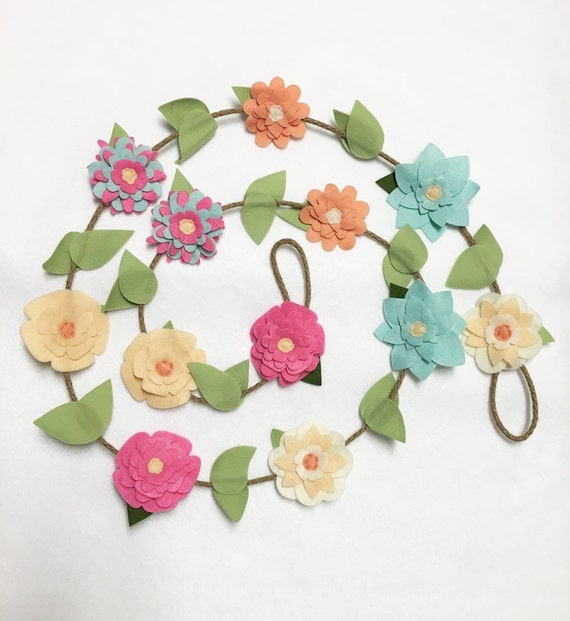 Flower Garland, Spring Flowers, Felt Flower Garland, Posable Twine, Room Decoration, Wedding, Party Decoration, Gift under 50