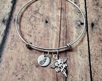 RN initial bangle - medical jewelry, nursing jewelry, silver nurse bangle, RN charm bracelet, gift for nurse, registered nurse bangle