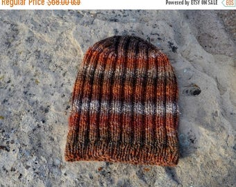 May Sale - 20% off Autumn Rust & Leaves Knit Hat - Hand Knit One of a Kind Hat in Handspun 100 Percent Polwarth Wool. Women or Men's Knit Ha