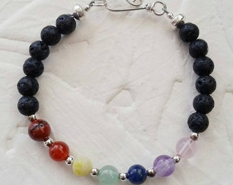 "Aromatherapy Chakra Bracelet with Silver accents - 7"" small size"