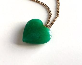 Vintage Jade Heart Pendant Gold Filled Necklace