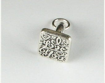 SALE 60% OFF Solid Sterling Silver .925 I Love You Rubber Stamp Charm Pendant (1 piece)