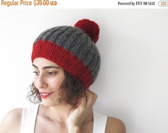 20% WINTER SALE NEW! Dark Gray - Red Hat with Pon Pon by Afra