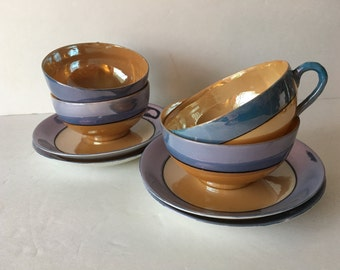 1930's Lusterware Blue and Peach Takito Japan Teacup Saucer Sets Service for 4