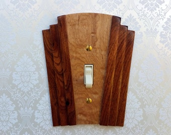 Single Art Deco Wooden Switchcover