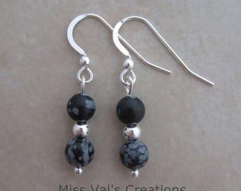 snowflake obsidian sterling silver dangle earrings