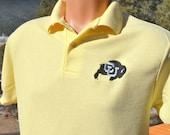 vintage 80s golf polo shirt cu university COLORADO buffaloes boulder Medium Small college