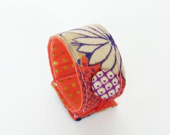 Cuff bracelet, Japanese kimono fabric, blue red and cream floral design, cotton cuff