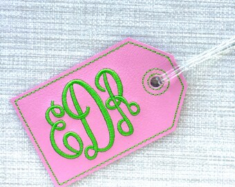 Custom luggage tag - Monogram luggage tag - personalized luggage tag - faux leather luggage tag - groomsman gift - bridesmaid gift