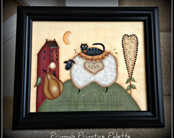 Primitive Framed 8 x 10 Canvas-Heart-Sheep-Saltbox House Home Decor Picture