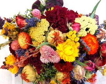 Bright Everlasting Brides Fall Wedding Bouquet French Lavender Burgundy Peonies, Dried Flowers, Grasses and Grains Paula Jeans Garden