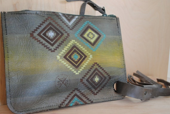 Leather Tribal Pouch | Leather Painted Purse | Handcrafted Leather Pouch | Gift