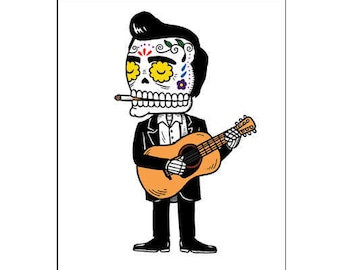 Johnny Cash Calavera Archival Art Print 8 x 10 or 5 x 7