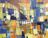 Reseved for Adel painting contemporary modern abstract painting yellow orange purple