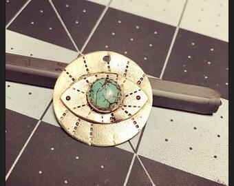PROTECTOR handstamped brass variscite turquoise eye pendant necklace