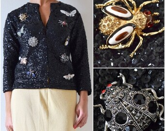 FLASH SALE / 20% off Vintage 50s 60s Black Sequined Cardigan with Jeweled Bug Brooch Collection (size small, medium)