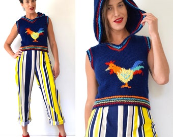 Vintage 70s 80s Rooster Knit Pullover Cropped Sweater Vest with Hood (size xs, small)