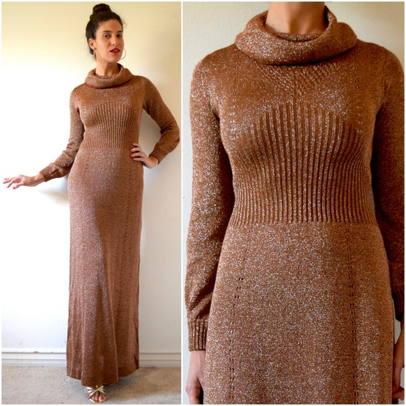 SUMMER SALE/ 30% off Vintage 70s Metallic Copper Lurex Knit Cowl Neck Sweater Dress (size small, medium)